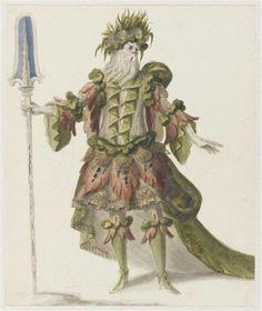 """Recueil """"Costumes des Fêtes, Mascarades, Théâtres, etc., de Louis XIV"""" - Jean I Bérain (1640-1711) – Costume pour le fleuve Sangar dans l'opéra Atys. Ce dessin appartient à une série d'oeuvres qui rappelent le souvenir des premières représentations d'Atys en 1676. – Paris, Musée du Louvre"""
