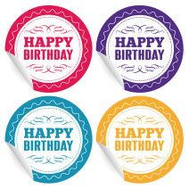 24 grafische Retro Geburtstags Aufkleber in verschiedenen Farben (matt, ø 45mm; 6 x 4 Farben)