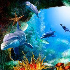 Aquarium Screensaver, Dolphin Art, Duvet Bedding, Bed Duvet Covers, Dolphins, Fish, Pets, Google, Animals