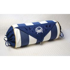 Blue and White Striped Crab Bolster Pillow