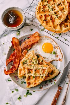 Sesame Scallion Waffles, by thewoksoflife.com