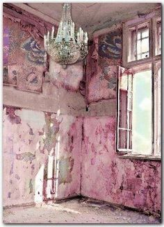 Forgotten Beauty room pink house building chandelier forgotten ruins abandoned crumbling