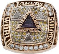 A Los Angeles Lakers NBA Championship Ring Gifted to Stallone by Shaquille O'Neal, 2002