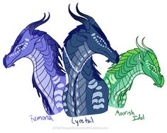 Wings of Fire Fanart. -- Bottom: Queen Glory, RainWing. ---Top: Deathbringer, Nightwing. Here is the Finished product --- farencry.deviantart.com/art/Pr…