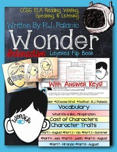 Wonder, by R.J. Palacio: Interactive Layered Flip Book Don't miss this fantastic, interactive guide to the best book I have read with my students in years!