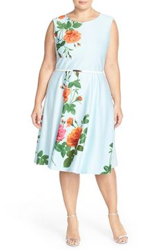 ac828e12d3 Gabby Skye Floral Print Belted Scuba Dress (Plus Size) available at   Nordstrom Preppy