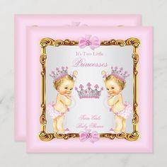 Invitación Blonde gemelo del rosa del oro de princesa Baby