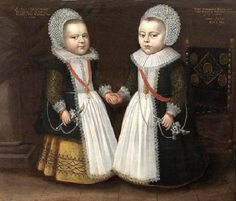 """Portrait of the two-year-old twins Gerdrugt and Conradus Kuve"" by an anonymous artist (1630)"