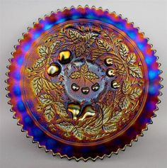 Northwood THREE FRUITS STIPPLED ELECTRIC PURPLE CARNIVAL GLASS 9inch PLATE.