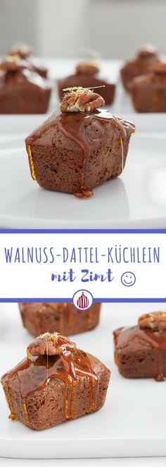 Suchst du etwas passend zum Tee oder Kaffee? Probiere mal die Walnuss-Dattel-Küchlein mit Zimt. #italienischkochen #dessert