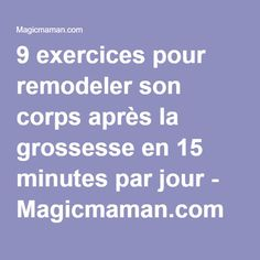 9 exercises to reshape your body after pregnancy in 15 minutes a day . - 9 exercises to reshape your body after pregnancy in 15 minutes a day . After Baby Workout, Post Baby Workout, Tonifier Son Corps, Hypothyroidism Diet, Workout Days, Workout Routines, Postnatal Workout, Strength Training Workouts, Post Pregnancy