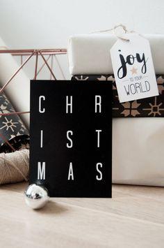 christmas card joulukortti mustavalkoinen