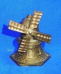 Vintage German Souvenir Building Wind Mill Table Bell #C