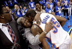 So glad Durant stays grounded no. Oklahoma City's Kevin Durant, right, celebrates with his grandmother Barbara A. Davis following Game 1 at Chesapeake Energy Arena on Saturday.  Photo by Sarah Phipps, The Oklahoman