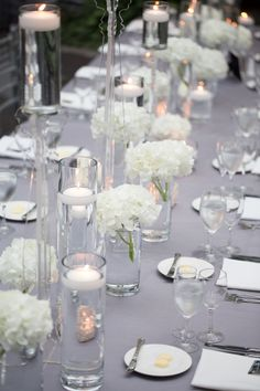 Simple White Centerpiece - Junebug Weddings - Wedding Photo Gallery – Photography - Ideas - photography (simple wedding decorations floating candles) Silver Centerpiece, Wedding Table Centerpieces, Reception Decorations, Table Decorations, Wedding Tables, Centerpiece Flowers, Centrepieces, Centerpiece Ideas, Silver Wedding Decorations