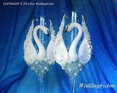 Cisnes Royal boda copas boda Champagne flautas por WeddingbyAnn