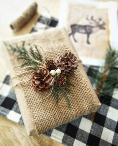 Christmas wrapping, rustic wrapping, pinecone