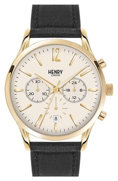 Men's Henry London 'Westminster' Chronograph Leather Strap Watch, 41mm