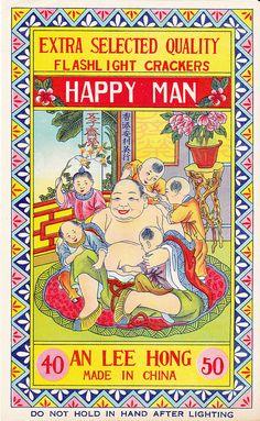 Happy Man Firecracker Brick Label