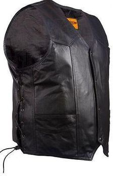 MEN'S MOTORCYCLE SIDE LACE BLK CLASSIC LEATHER VEST & 2 GUN POCKETS VERY SOFT