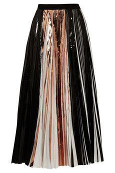 Proenza Schouler Foil-paneled pleated cloqué maxi skirt | NET-A-PORTER