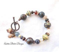 Ceramic, stone, Czech glass, wood, African beads and copper metal bracelet. - Andria Bieber Designs, Bracelet - Jewelry, McKee Jewelry Designs - Andria Bieber Designs