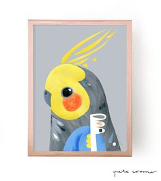 "This is a fine art print from the original ""Little Penguin"" Artwork by Pete Cromer. Contemporary Australian Artists, Australian Parrots, Shape Collage, Cockatiel, Abstract Canvas Art, Art For Art Sake, Art Club, Bird Prints, Bird Art"