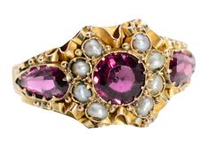 Ribbons of Gold - Victorian Garnet Pearl Ring - The Three Graces