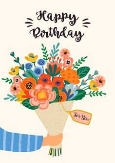 Happy Birthday Painting, Happy Birthday Floral, Happy Birthday Art, Happy Birthday Wishes Cards, Bday Cards, Happy Birthday Images, Happy Birthday Teacher, Flower Birthday, Teachers Day Greetings