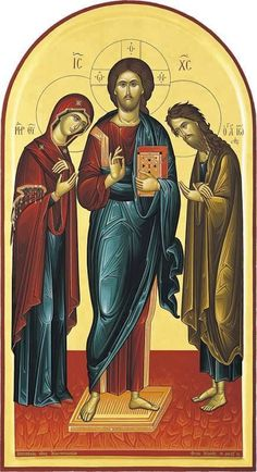 Theotokos,Lord Jesus Christ, and St John the Baptist Byzantine Icons, Byzantine Art, Religious Icons, Religious Art, Christ Pantocrator, Bible Timeline, Images Of Christ, Paint Icon, Biblical Verses