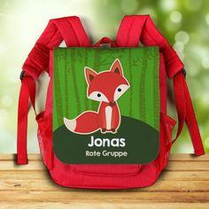 roter Rucksack für Kinder mit niedlichem Fuchs, Name des Kindes und Zusatztext | geschenke-online.de