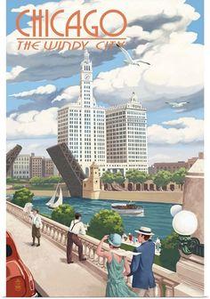 Poster Vintage, Vintage Travel Posters, Vintage Signs, Vintage Metal, Retro Vintage, Chicago Poster, Chicago Art, Chicago River, Chicago Style