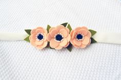 Headband with anemone felt flowers in light by CraftyCatgr on Etsy