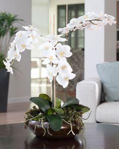Deluxe White Silk Phalaenopsis Orchid Flower Arrangement | Premium Artificial Flower Designs