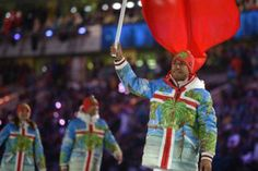 Tonga's flag bearer, luger Bruno Banani leads his national delegation during the Opening Ceremony of the Sochi Winter Olympics at the Fisht Olympic St. Tonga, Olympics Opening Ceremony, Shaun White, World Thinking Day, Winter Olympics, Olympians, Girl Scouts, Ronald Mcdonald, Sotchi 2014