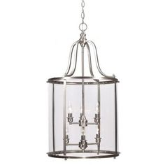 Sea Gull Lighting Gillmore 6-Light Brushed Nickel Hall/Foyer Lantern with Clear Glass-5118406-962 at The Home Depot