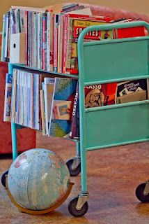 old library cart for kids' books - would love to find one...  DEMCO - these book carts are EXPENSIVE new $500..exploited taxdollars misused at libraries