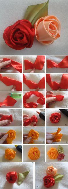 Как свернуть аккуратную розу из ленты: мастер-класс Ribbon Flower Tutorial, Decoupage, Homemade, Band, Flowers, How To Make, Ribbons, Flower Fabric, Embroidery Stitches
