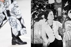 Camellia flowers were not only a staple of Coco's design but also of her home—her coromandel panels featured the blooms prominently. For Fall, Lagerfeld created a gray digital print of the flower that he used on loose pants.