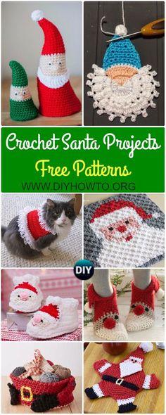 Collection of Crochet Santa Clause Ideas and Projects Free Patterns: Crochet Santa Face Motif Appliques, Santa Home Decor, Santa Ornament, Amigurumi Santa Toys