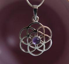 Seed of life pendant, amethyst in white gold | Semínko života - bílé zlato a ametyst