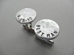 Best Man Cuff links - Personalized Aluminum Cufflinks - Hammered Weathered Texture. $18.00, via Etsy.
