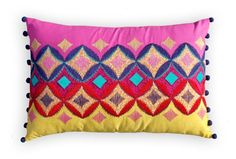 """#Colorful #bohemian style pillow cover, #embroidered #moroccan #pillow #case, #tribal #indian #cushion #cover, #ikat, #ethnic #lumbar pillow 14""""X21"""""""