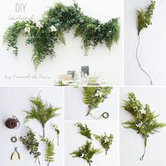 Make your own DIY garland with faux greenery from afloral.com with this simple DIY. Perfect for your wedding backdrop and use later in your home as wall art! #diywedding Design by Friend Of Faux