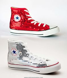 cd2942479fe Red Sequin Hi Top Converse Canvas All Star Sneaker Shoes