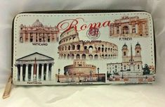 Womens Unbranded Wallet Clutch Zip Around Italian Postcard Print Faux Leather #Unbranded Clutch Wallet, Leather Wallet, Fabric Wallet, Women's Wallets, Wallets For Women, Small Businesses, Zip Around Wallet, Coin Purse, Closure