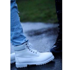 white and blue timberlands