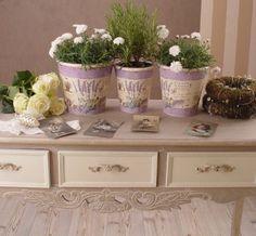 3er Set Blumenbehälter Pflanzbehälter Blumentöpfe Lavendel Provence #ShabbyChick #Vintage #Nostalgie
