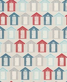 Beside the Seaside (20-272) - Graham and Brown Wallpapers - Add impact to any wall with these quirky rows of beach huts in your kitchen or bathroom. A Blue, Red & White Motif vinyl wallpaper. Please request a sample for true colour match. Other colours available.