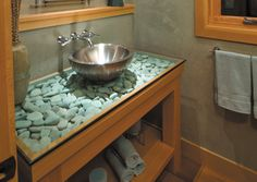 countertop idea: glass over river rocks